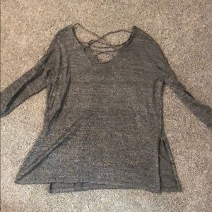 Altard State Gray Lace up sweater size small